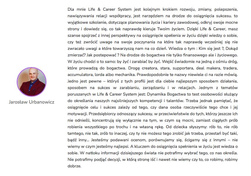 Jarosław Urbanowicz - Opinia Life&CareerSystem