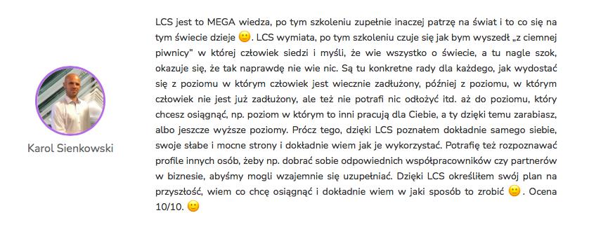 Karol Sienkowski - Opinia Life&CareerSystem