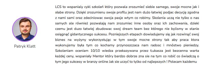 Patryk Klatt - Opinia Life&CareerSystem