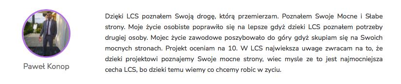 Paweł Konop - Opinia Life&CareerSystem