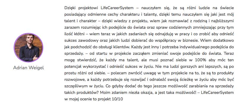 Adrian Weigel - Opinia Life&CareerSystem