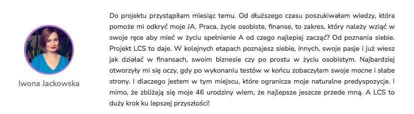 Iwona Jackowska - Opinia Life&CareerSystem