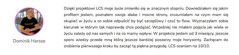 Dominik Harsze - Opinia Life&CareerSystem