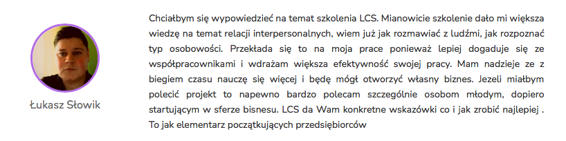 Łukasz Słowik - Opinia Life&CareerSystem