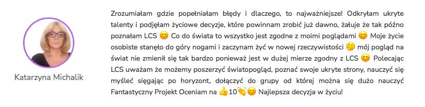 Katarzyna Michalik - Opinia Life&CareerSystem