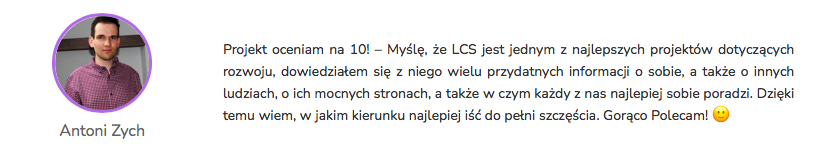 Antoni Zych - Opinia Life&CareerSystem