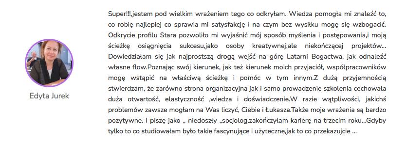 Edyta Jurek - Opinia Life&CareerSystem